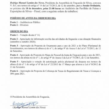 Edital-Assembleia de Freguesia 18 de dezembro