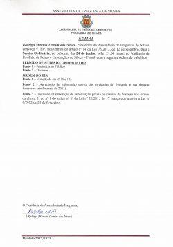 Edital – Alteração do local Assembleia de Freguesia 24 de junho